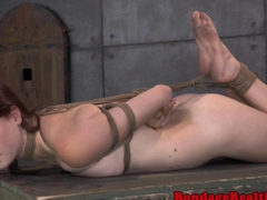 Tied up bdsm ginger Ashley Lane caned hard