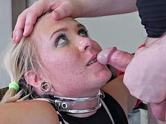 Blonde skank loves being a dirty little slave