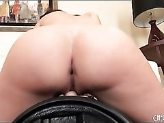 Fit pornstar Tiffany Tyler strips and rides a Sybian