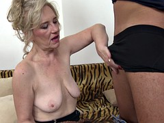 Blonde granny with saggy tits gets facialized by a stud