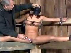 She loves having her pussy toyed while tied up BDSM