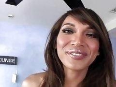 Exotic shemale lady Yasmine Lee loves fucking her man bareback