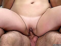 Thick mature chick rides a dick with her bald cunt