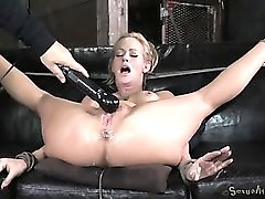 Milf squirts from hardcore fucking in bondage