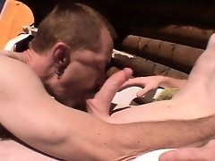 Lustful daddy has a beautiful young guy blowing his long pole outside
