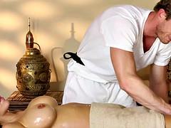 astonishing babe jizzed on ass by masseur