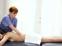 Masseuse Penny Pax fucks clients ass with huge sextoy