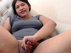 Chubby Asian ladyboy flashes her curves and touches her dick