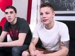 Gay jocks Tyler's pipe in his throat and super hot spunk all