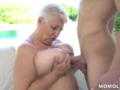 Chubby grannys tits covered with jizz by Jason Storm