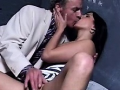 Young brunette gets tongued by her nasty old lawyer