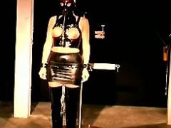 Master makes blonde slave lose her mind with boob bondage