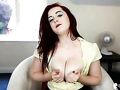 Sexy cleavage tease ends with those tits coming out