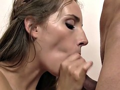 Cock sucking bitch gets her ass fucked hard and fast