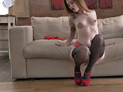 Polish whore misha cross masturbates in stockings and heels