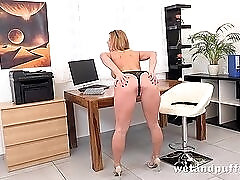 Office cutie gets naked and plays with her pussy