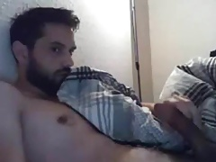 Muscular tired guy cumming