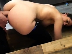 Stacked brunette mom takes a big dick in her ass from behind
