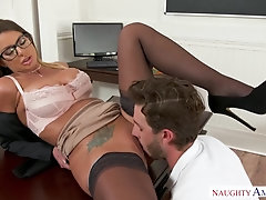 Brooklyn Chase is a big titted office lady who is always in the mood for a quickie