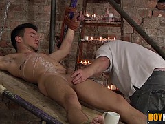 Master casting izan candle wax on his bound sexy Twink lost