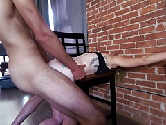 Masked & bound blonde face and pussy fucked