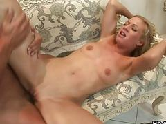 Blonde whore is on the dick sucking it then fuckin