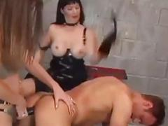 Mistresses fuck their slaves with a strapon BDSM fetish compilation