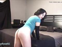 Chubby girl spanks her big butt with rubber gloves BDSM