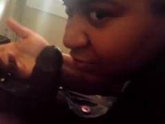 Dirty ebony whore in POV blowjob action