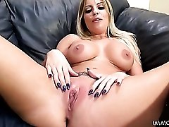 Britney Amber rides the Sybian and sucks cock