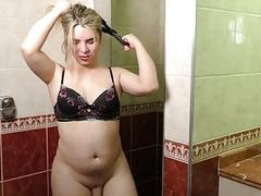 Blond Tranny Carol Penelope Stokes Her Hard Cock in the Shower