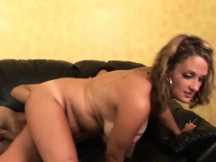Blonde chubby milf sucking cock