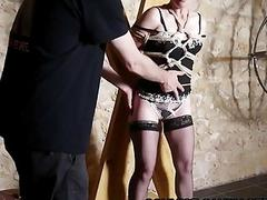 Hogtied bondage caning for french mature slave in dungeon BDSM
