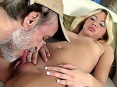 Teenage blonde takes grandpa cock in her cunt