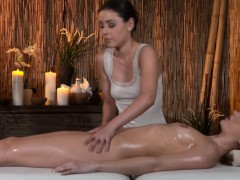 Sensual closeup massage for european lesbians