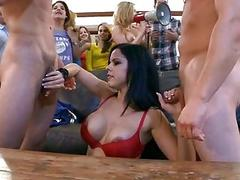 Concupiscent and sexual orgy fucking with girls