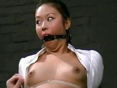 Oriental bound BDSM bitch Koko Li gets her nipples clamped