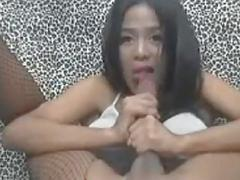 Horny Shemale Blowjobs Herself Good