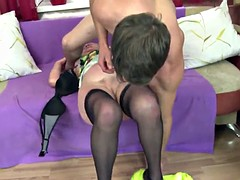 Old grandmother to suck and to fuck young cock like a true slut