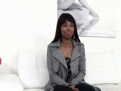 Sexy ebony sucks and fucks on casting