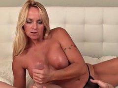 big boobed blonde mature jerks big dick