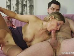 Cock and ass licking from a slutty blonde
