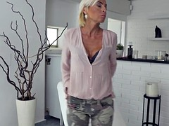 Off milf sunny skinny strips and masturbates