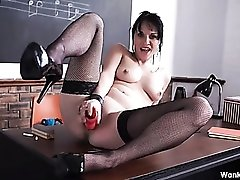 Stroke to the metronome as she fucks her toy
