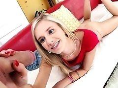 Young blonde Rachel James loves big dick