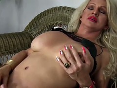 Mature tgirl with a small cock jerks off and cums