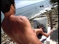 Gorgeous lifeguard lays out and gets her tight pussy licked deep then fucks