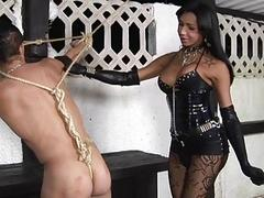 Hot Latina shemale Mistress bounds and ass-fucks her male slave