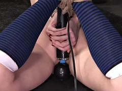 poor violet monroe gets tied up tight and toyed with magic wand
