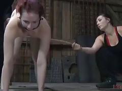 Bondage slut Claire Adams molested hard by lezdom mistress BDSM